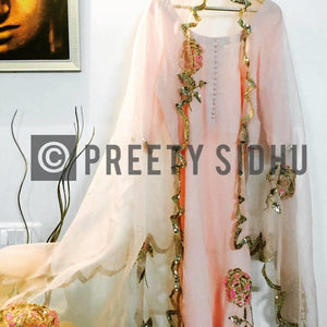 Rose Peach Crepe Sharara Suit