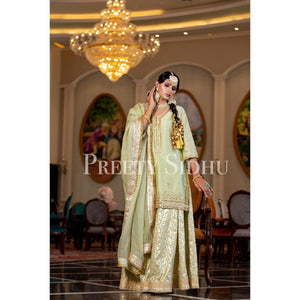 Olive Chanderi Sharara Outfit