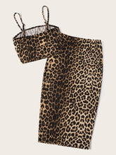 Load image into Gallery viewer, Leopard Print Crop Cami Top & Bodycon Skirt Set