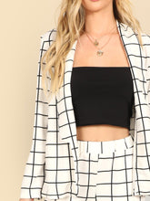 Load image into Gallery viewer, Grid Print Blazer & Pants Set