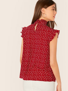 Tie Neck Ruffle Trim Dot Mesh Yoke Heart Print Top