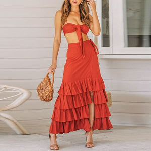 Two Piece  Sexy Ruffle Skirt Top