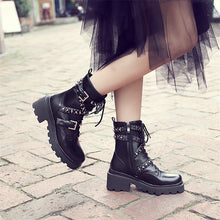 Load image into Gallery viewer, Leather Ankle Boots / Punk Motorcycle Boots