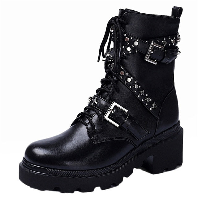 Leather Ankle Boots / Punk Motorcycle Boots