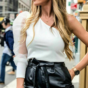 One Shoulder Blouse ( Black/white)