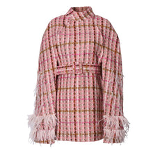Load image into Gallery viewer, Patchwork Feathers Plaid  Coat