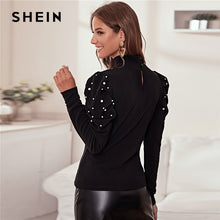 Load image into Gallery viewer, Black Pearl Beading Elegant Blouse