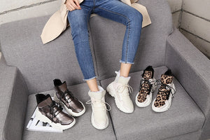 Leopard Fur Warm Platform Sneakers