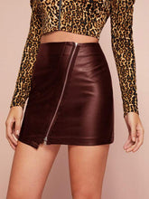 Load image into Gallery viewer, Leather Mini Skirts (2colors )