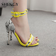 Load image into Gallery viewer, Ankle Strap Snake Print