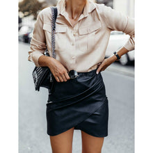 Load image into Gallery viewer, High Waisted  Leather Mini Skirt