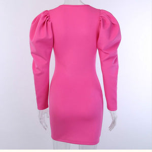 Pink Puff Sleeves  Dress