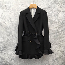 Load image into Gallery viewer, Black Patchwork Ruffle Suit  Blazer