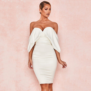 Sexy White Bow Sleeveless Backless  Dress