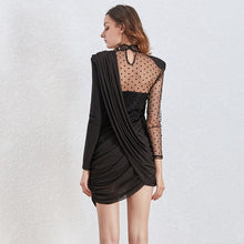 Load image into Gallery viewer, Asymmetrical Dot Mesh Dress