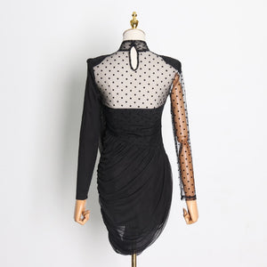 Asymmetrical Dot Mesh Dress