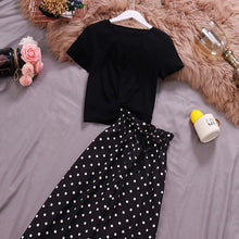 Load image into Gallery viewer, Two Piece T-shirt High Waist Dot Chiffon Pants
