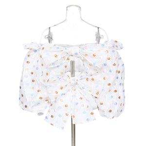 Puff Sleeves Polka Dots Top