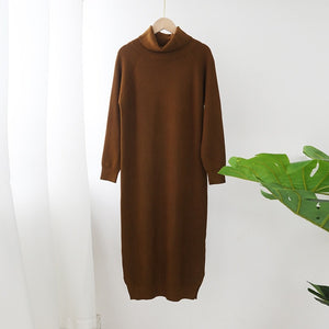 Long Dress Turtleneck Sweater Dress