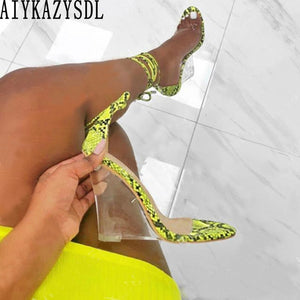Clear Transparent Wedge Heel Ankle Strap