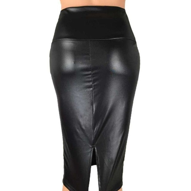 Faux Leather Skirt High Waist (variety of colors)