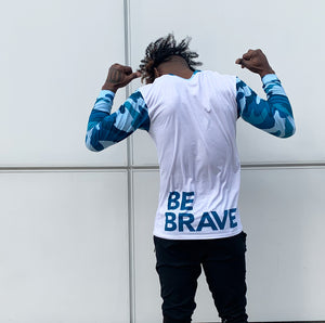 "Be Brave and wear our Good Gangsta ""Be Brave"" Blue Camouflage men's long sleeve crew-neck T-shirt. How are you brave today?"