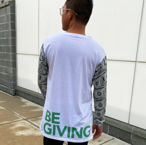 "Be Giving and wear our Good Gangsta ""Be Giving"" Million Dollar Men's long sleeve crew-neck T-shirt. How are you giving today?"