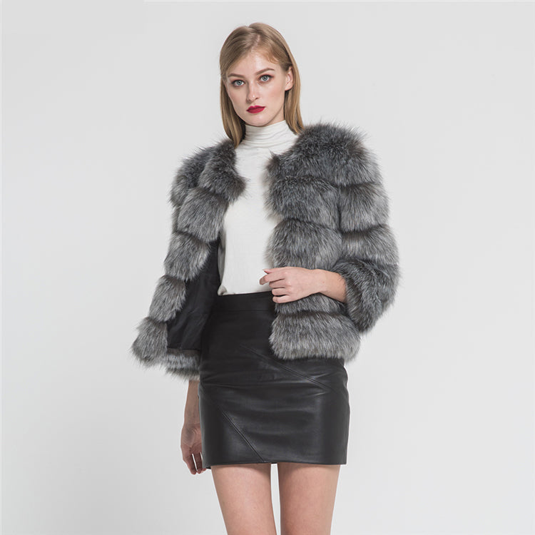 Fashion Design Faux Fox Fur 5 Rows Crop Coat Winter Thick Warm Fake Fur Coat Fashion Jacket New Arrival 2020/2021