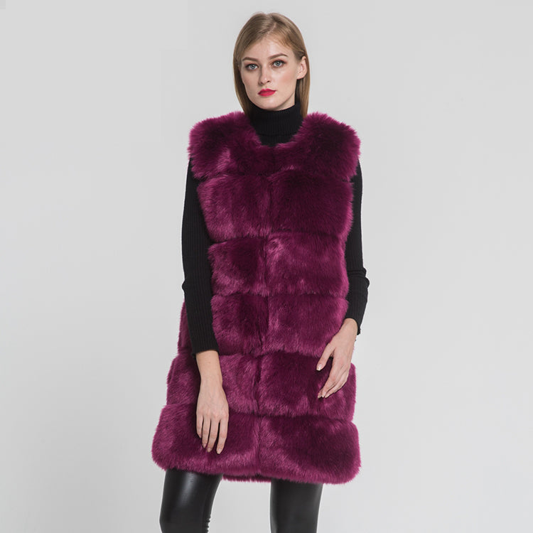 Faux Fox Fur Long Vest High Quality Fake Fur Gilet Autumn Winter Warm Fake Fur Waistcoat 2020