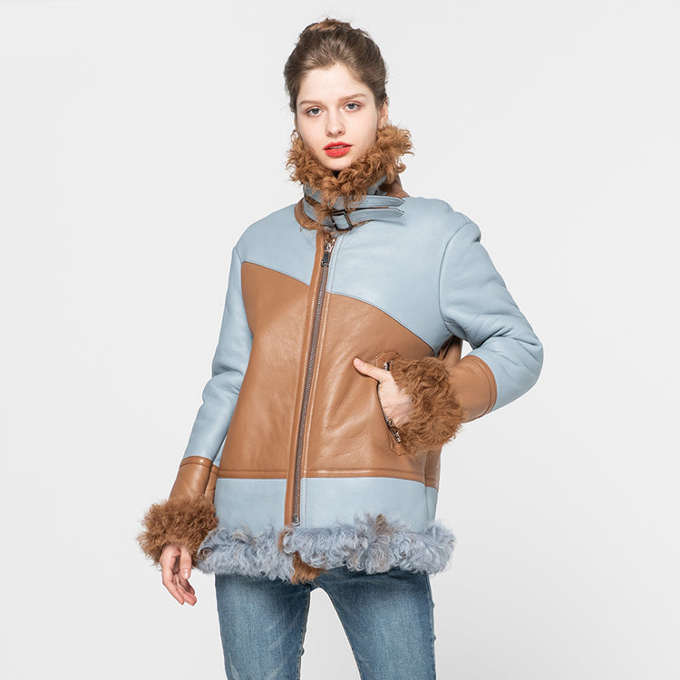 New Arrival Women's Genuine Sheepskin Leather Jacket Top Quality Tuscan Wool Coats Winter Thick Warm