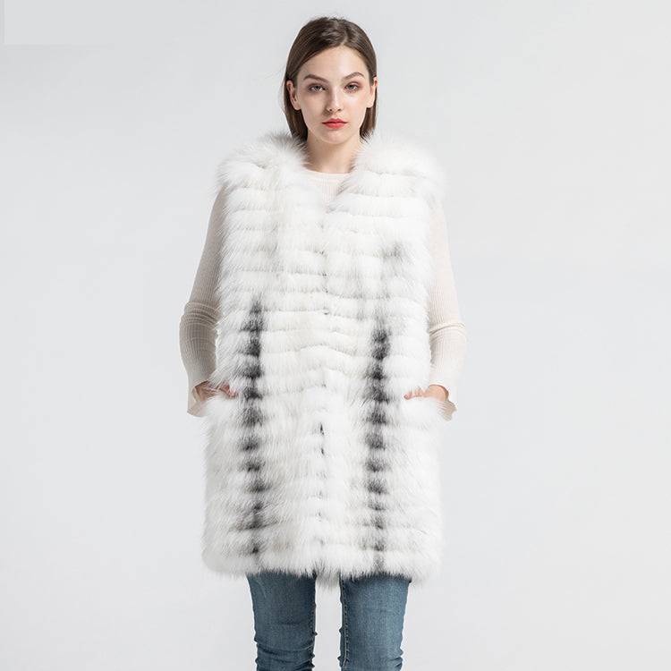 New Arrival Women's Real Fox Fur Vests Fashion Natural Fur Knitted Gilets Female Winter Autumn Waistcoat 2020