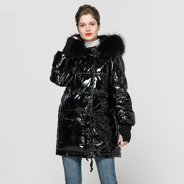 Winter Fashion Long Down Coat Women's Keep Warm Real White Duck Down Overcoats Black Hooded Jackets