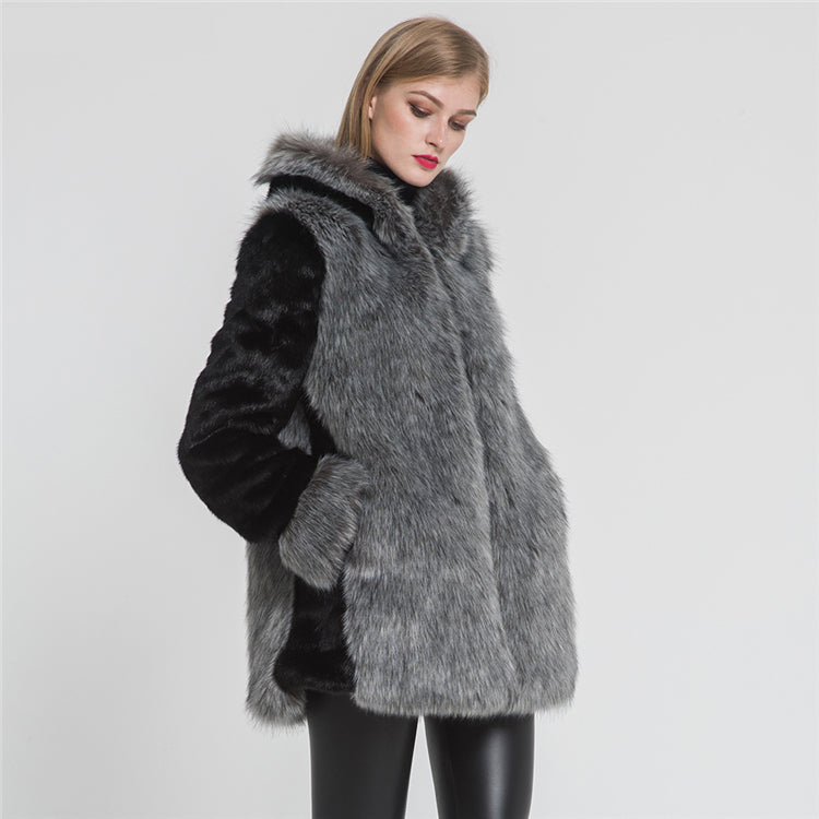 top quality faux fur coat in black