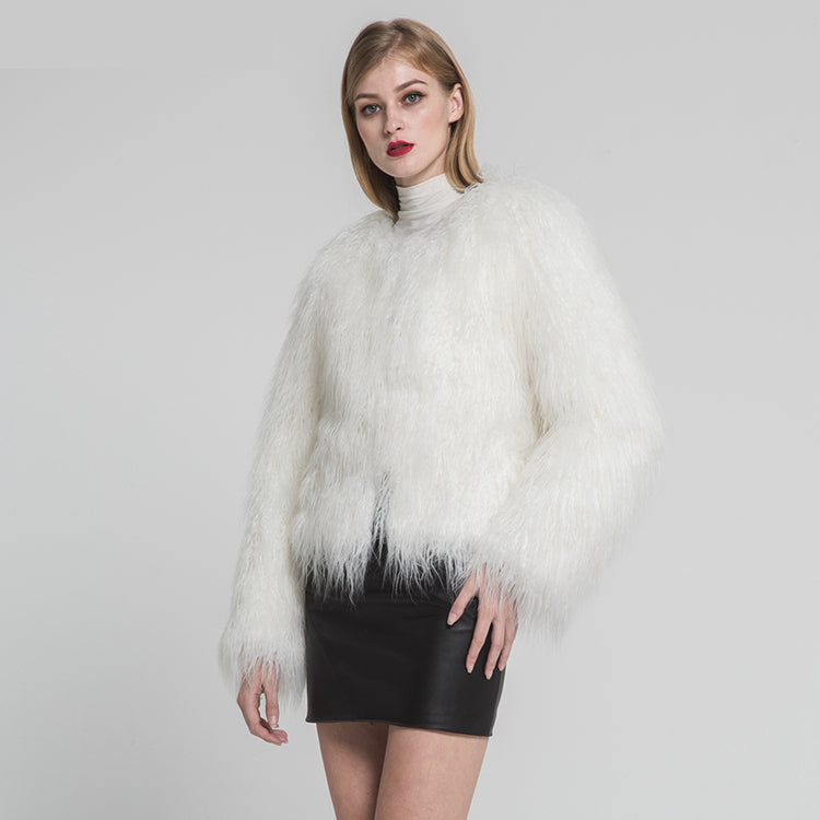 Fashion Design Faux Mongolian Fur Full Fake Fur Jackets Winter Thick Warm Fluffy New Arrival