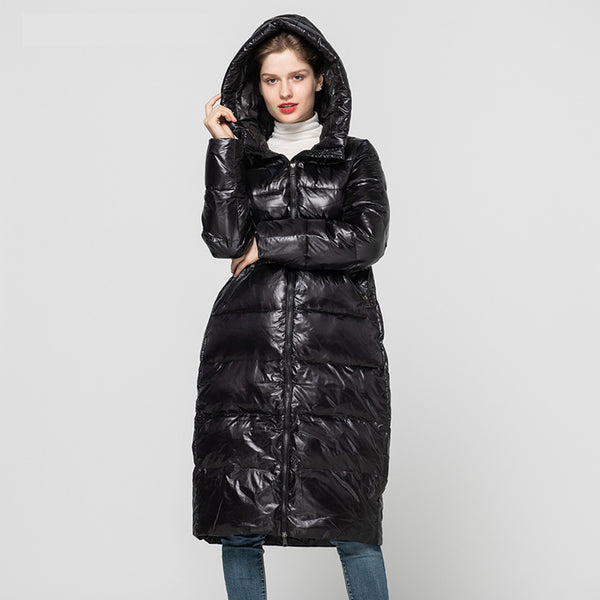 New Arrival Women's Winter Coat Real White Duck Down Coat Fashion Long Outerwear Female Thick Hooded Coats