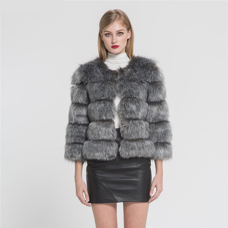 Fashion Design Faux Fox Fur 5 Rows Crop Coat Winter Thick Warm Fake Fur Coat Fashion Jacket New Arrival 2020