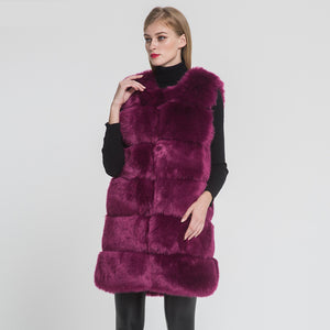 Faux Fox Fur Long Vest High Quality Fake Fur Gilet Autumn Winter Warm Fake Fur Waistcoat