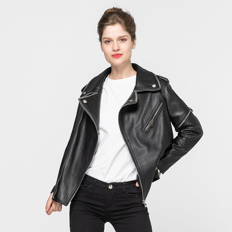 Female Genuine Leather Jackets Sheepskin Motorcycle Jacket Women Fashion Slim Soft Biker Coat