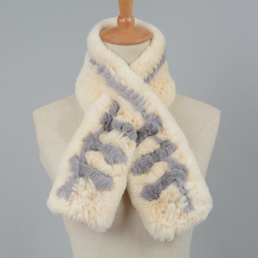 Thick Knitted Fur Mini Scarf