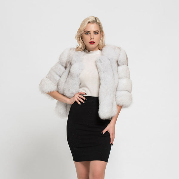 White Cropped Fur Jacket
