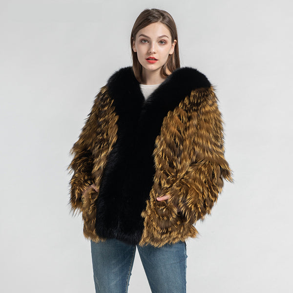 Women's Real Fox Fur Knitted Coat Fashion Silver Fox Fur Jackets Lady Luxury Overcoat New Winter