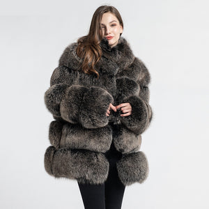 New Arrival Women Luxury Fox Fur Coat Top Quality Winter Thick Warm Fur Jacket Fashion Outerwear