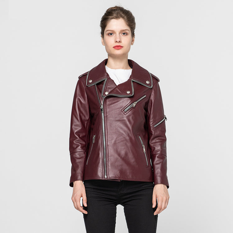 Female Genuine Leather Jackets Sheepskin Motorcycle Jacket Women Fashion Slim Soft Biker Coat 2020 / 2021