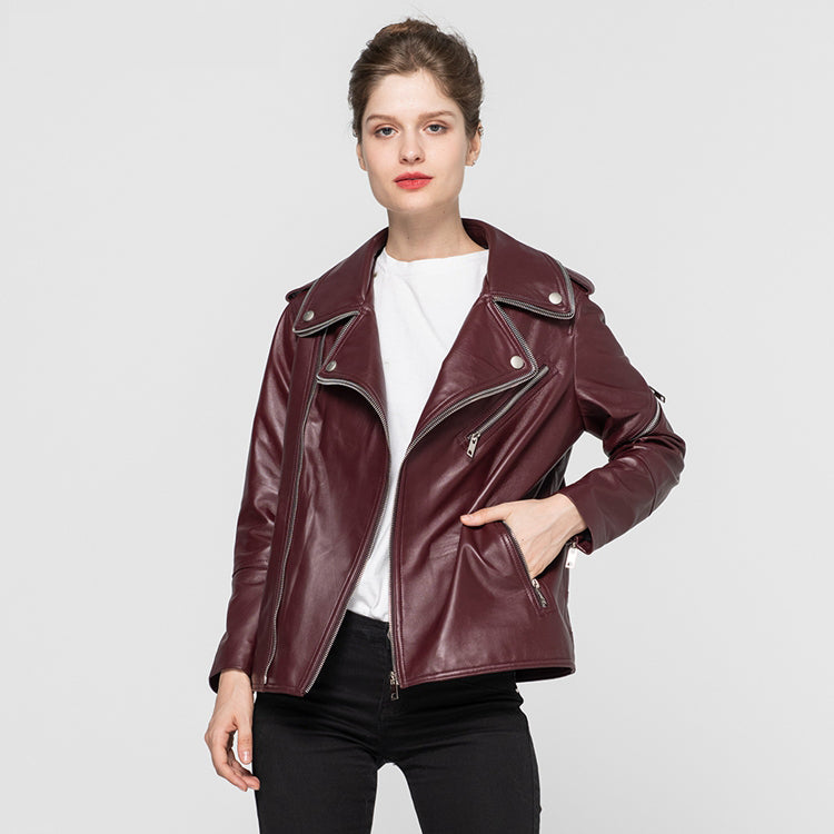 2020 Female Genuine Leather Jackets Sheepskin Motorcycle Jacket Women Fashion Slim Soft Biker Coat