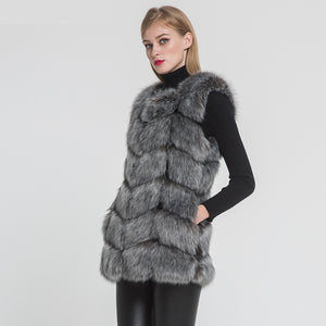 High Quality Fake Fur Gilet Autumn Winter Warm Fake Fur Waistcoat Faux Fur Long Vest