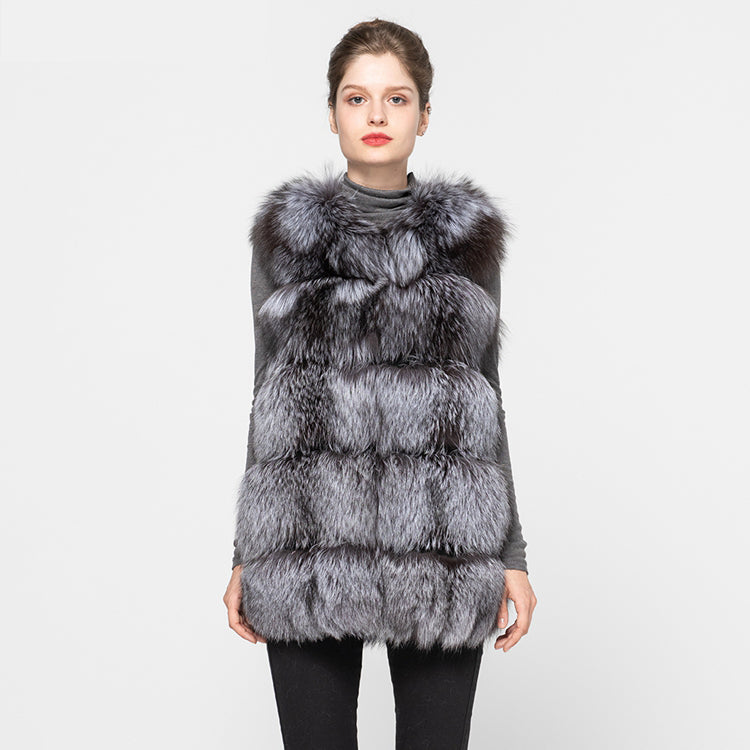 High Quality Women's Raccoon Fur Gilet Autumn Real Silver Fox Fur Winter Warm Genuine Fur Waistcoat