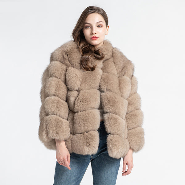Hot Sale Fur Crop Coat Women's Real Fox Fur Coat Winter Warm Collared Jackets