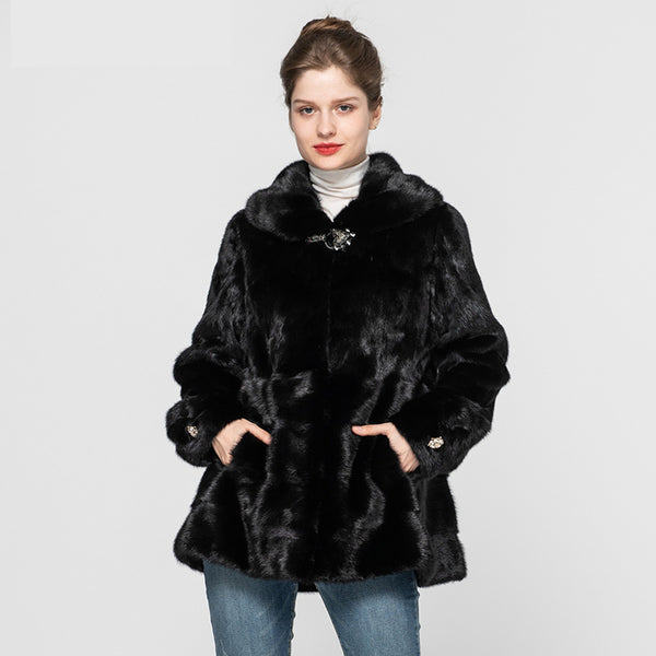 Women's Top Quality Real Mink Fur Coat Fashion Luxury Genuine Mink Fur Jackets Lady Winter Warm Outerwear