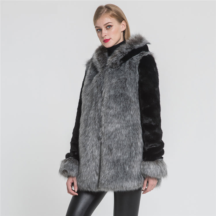 gray and black faux fur coat of top quality