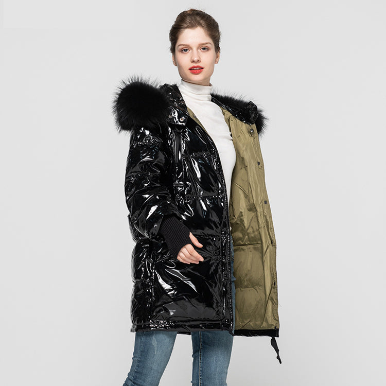 Winter Fashion Long Down Coat Women's Keep Warm Real White Duck Down Overcoats Black Hooded Jackets 2020 2021